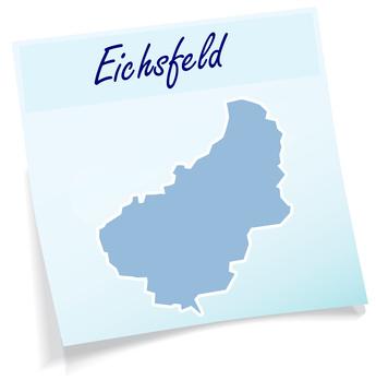 Eichsfeld als Notizzettel in Blau